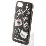 Pouzdro Karl Lagerfeld Pins s motivem Apple iPhone 6 iPhone 6S iPhone 7 iPhone 8 černé