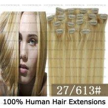 CLIP IN (klipy) pravé lidské vlasy remy 60cm odstín 27/613 melír 8 částí 120g