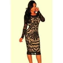 Midi elegantní šaty s dlouhým rukávem černé