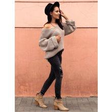 89a31b72a4e Fashionweek Báječný pleteny luxusní svetr dámský V-neck ALPAKA MD12 W28  Béžový