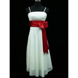 polodlouhé plesové společenské svatební šaty koktejlky s červenou mašlí Bílé a107f447f9