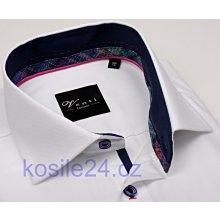 Venti Slim Fit Bílá košile s jemnou strukturou a modrým vnitřním límcem abd3654c20