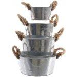Kaemingk Set zinkových věder s jutovým uchem 4 ks