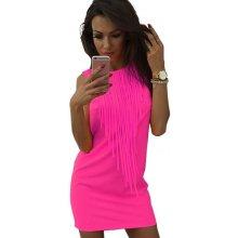3f48919c9e Sexy letní plážové mini šaty s třásněmi růžová