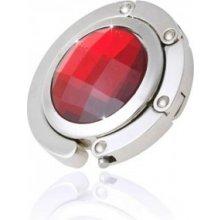 Háček na kabelku - S krystalem 30mm - červený