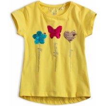 d52310a02b45 Dívčí tričko s překlápěcími flitry KNOT SO BAD MOTÝL žluté