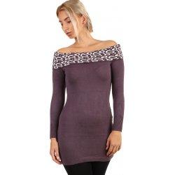 aa9e837d5de3 YooY dámské pletené šaty s odhalenými rameny fialová od 469 Kč ...