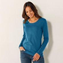 dfc6c3ab8ef Blancheporte Jednobarevný pulovr s kulatým výstřihem tyrkysová