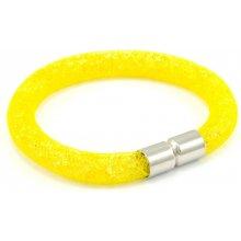 Murano náramek dutinka s krystalky z broušeného skla žlutá Tubo Conteria 10000542804