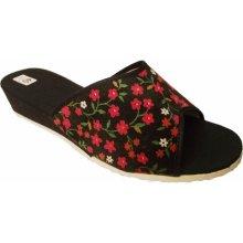 Dámské domácí pantofle Bokap 010 s kytkami černá 74793edab5