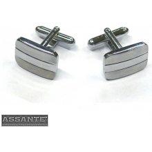 Assante manžetové knoflíčky obdélníkové stříbrné 90533