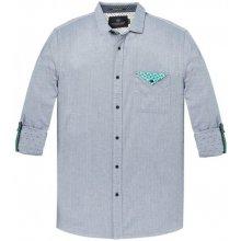 Scotch Soda šedo-modrá pánská košile s kapesníčkem 5aeae665f0