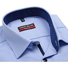 Marvelis Body Fit – košile s vetkaným světle modrým vzorem a vnitřním límcem  - prodloužený rukáv 324b1cb106