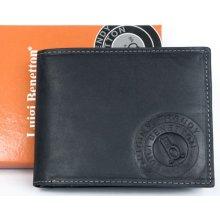 Luigi Benetton kožená peněženka z pevné matně černé kůže