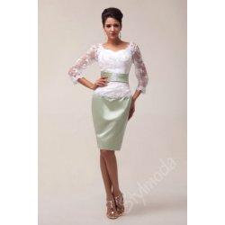 ae84da961a3 Společenské šaty s krajkovými rukávy krátké bílé CL6067 alternativy ...