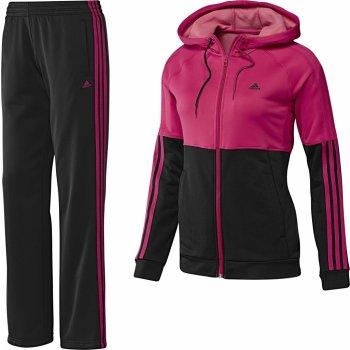 Adidas young knit suit Dámská souprava s kapucí - růžová/černá ...