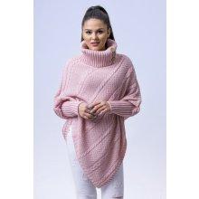 af86a528590 Fashionweek Luxusní Elegantní pončo s teplým rolákem s rukávy SCARLA Růžovy