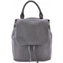Arteddy dámský dívčí malý kožený batoh a kabelka v jednom s klopnou šedá d54a95cf7f2