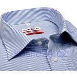 Marvelis Modern Fit Bílá košile se světle modrým proužkem krátký rukáv f61e234fe8