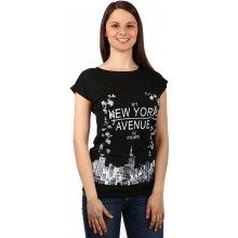 Glara Moderní dámské tričko s potiskem 131285 černá eb2f6c09b8