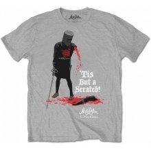 CurePink Pánské tričko Monty Python: Tis But A Scratch šedé