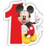 Procos Mickey Mouse dortová svíčka bílá s červeným číslem 1