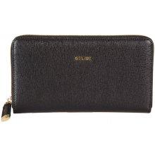 GIUDI dámská černá kožená peněženka penál 6802 LGP CRF