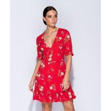 Parisian letní květované mini šaty Floral Red červená fc463404c8