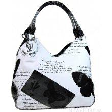 kabelka na rameno v anglickém stylu 1593 černo-bílá