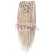 HOTstyle Clip in vlasy k prodloužení 50cm 100% lidské - REMY - platinová blond/světle hnědá