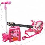 Dětská rocková elektrická kytara na baterie + zesilovač a mikrofon Pink