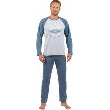857ff3c7cb0a Evona Academy pánské pyžamo dlouhé modro šedé