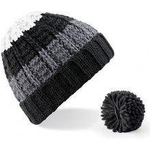 3360007b0b8 Čepice pruhovaná s odnímatelnou bambulí Beechfield černá šedá bílá