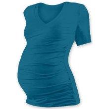 Jožánek těhotenské tričko Vanda s výstřihem do V a krátký rukáv petrolejová