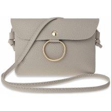 d14209c642 malá dámská kabelka listonoška psaníčko s osdobným kroužkem šedá