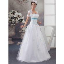 6dcc918dc655 Nádherné svatební šaty s bolérkem 2764-064 bílo modrá