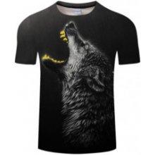 UNISEX 3D potisk tričko triko krátký rukáv Vlk zářící zuby a8389ce8b9