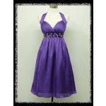 Krátké plesové šaty po kolena koktejlky za krk s kamínky pod prsy i pro  těhotné fialová 0126f590ba