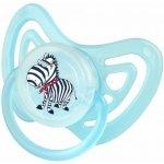 OKT dudlík ortodontický silikon Zebra v modré
