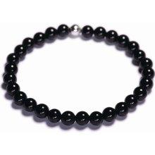 Lavaliere dámský korálkový náramek černý lesklý achát 02001