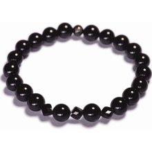 Lavaliere pánský korálkový náramek černý lesklý achát Swarovski krystaly 18001