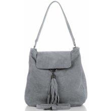 Vittoria Gotti kožené dámská kabelka světle šedá 108226bf3a1