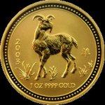 Lunární Zlatá investiční mince Year of the Goat Rok Kozy 1 Oz 2003