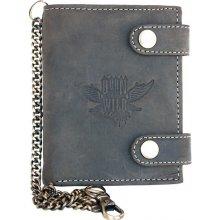 Born to be wild Kožená peněženka se dvěma přezkami s křídlem s 30 cm dlouhým kovovým řetězem a karabinkou