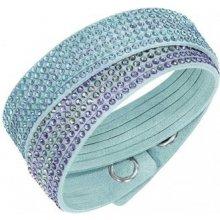 Swarovski náramek SLAKE BLUE 2IN1 světle modrá Alcantara barevné krystaly 5202466