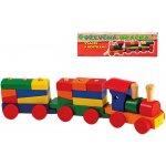 dřevěný vlak s kostkama v krabici