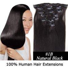 CLIP IN (klipy) pravé vlasy remy 45cm odstín 1B přírodně černá 7 částí 70g