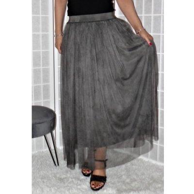 Tylová sukně tmavě šedá Vionnetta