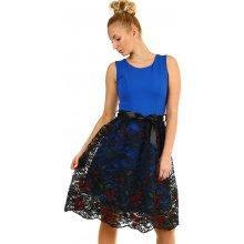 YooY dámské společenské krátké šaty s krajkou modrá d8cd759c70
