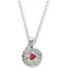 Danfil Přívěsek z bílého zlata s rubínem a diamanty DF 3157 a4ec206bce8